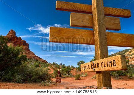 Sign at the entrance to Bell Rock next to Sedona Arizona