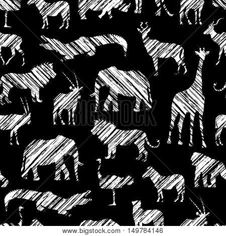 Grunge African Pattern With White Diagonal Shading Stylized Animals