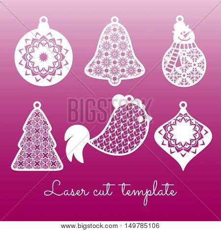 Set of openwork Christmas decorations. Laser cutting template.