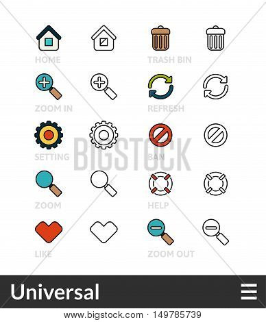 Black and color outline icons, slim line pictograms vector set 2- universal symbol collection