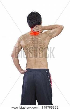 Young man has terrible neckache and skeleton