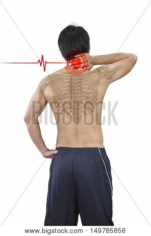 Young man has terrible neckache and isolated