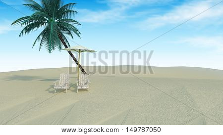 Beach lounge :beach chairs and umbrella on sand.summer tropical and sea view with blue sky natural background-3d rendering