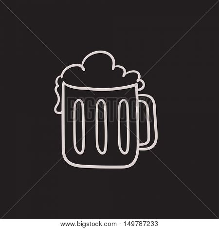 Mug of beer vector sketch icon isolated on background. Hand drawn Mug of beer icon. Mug of beer sketch icon for infographic, website or app.