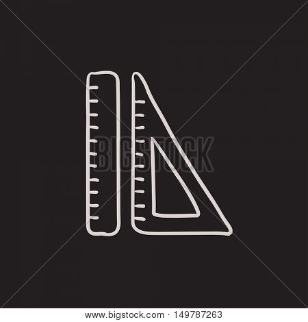 Rulers vector sketch icon isolated on background. Hand drawn Rulers icon. Rulers sketch icon for infographic, website or app.