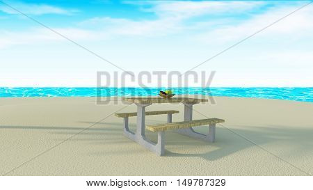 Food with wooden table on beach and sea view-3d rendering