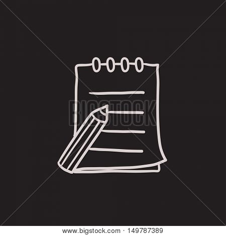 Writing pad and pen vector sketch icon isolated on background. Hand drawn Writing pad and pen icon. Writing pad and pen sketch icon for infographic, website or app.
