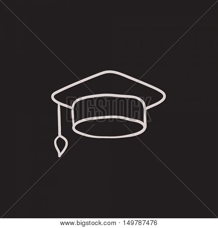 Graduation cap vector sketch icon isolated on background. Hand drawn Graduation cap icon. Graduation cap sketch icon for infographic, website or app.