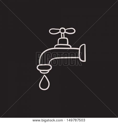 Faucet with water drop vector sketch icon isolated on background. Hand drawn Faucet with water drop icon. Faucet with water drop sketch icon for infographic, website or app.