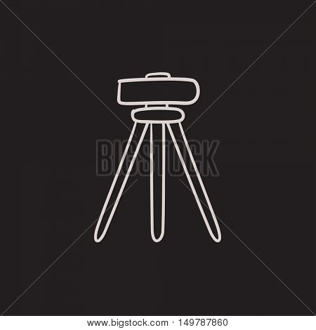 Theodolite on tripod vector sketch icon isolated on background. Hand drawn Theodolite on tripod icon. Theodolite on tripod sketch icon for infographic, website or app.