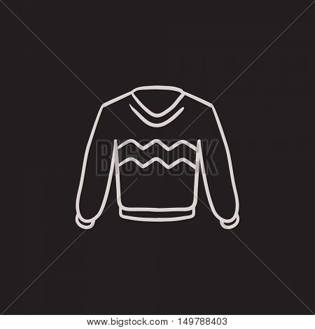 Sweater vector sketch icon isolated on background. Hand drawn Sweater icon. Sweater sketch icon for infographic, website or app.