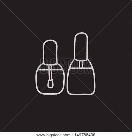 Bottles of nail polish vector sketch icon isolated on background. Hand drawn Bottles of nail polish icon. Bottles of nail polish sketch icon for infographic, website or app.