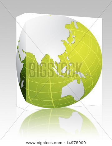Software package box Globe map illustration of the Asia Pacific poster