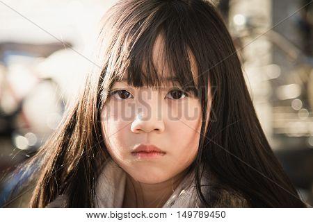 Close up beautiful asian girl face close up