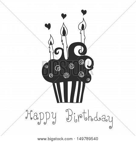 cupcake hand drawn with heart  happy birthday