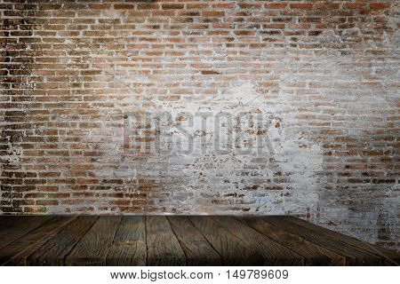Empty rustic Table front brick wall background use for object product placement or backdrop or promotion