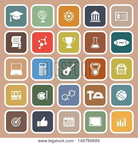 College flat icons on brown background, stock vector
