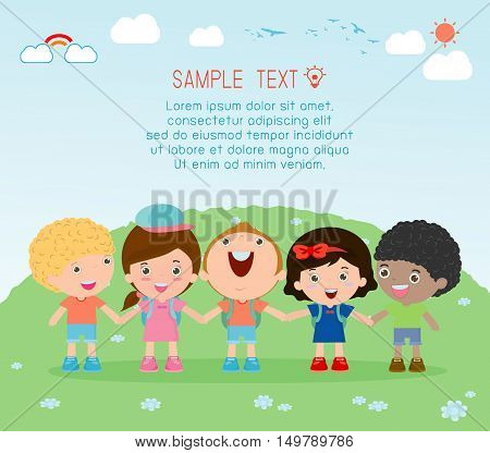holding hands, kids holding hands on background, Multi-ethnic children holding hands, Many happy children holding hands , Vector Illustration
