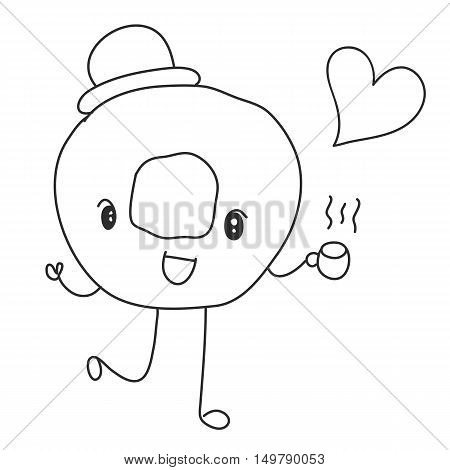smiling donut holding hot coffee and heart