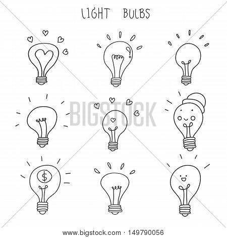 light bulb hand drawn vector icon set