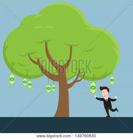 businessman try to collect money bill fruit from tree. many money bills on tree.