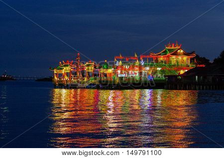 GEORGETOWN MALAYSIA - MAY 29: closeup view of Hean Boo Thean Kuanyin Chinese Buddhist temple in Clan Jetties. Built on stilts over the harbor of George Town