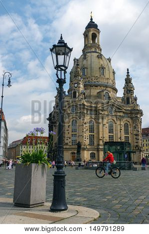 DRESDEN GERMANY - JULY 13 2015: the Frauenkirche in the ancient city historical and cultural center of Free State of Saxony in Europe.