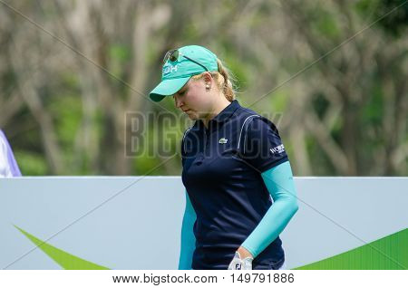 CHONBURI - FEBRUARY 27 : Charley Hull of England in Honda LPGA Thailand 2016 at Siam Country Club Pattaya Old Course on February 27 2016 in Chonburi Thailand.