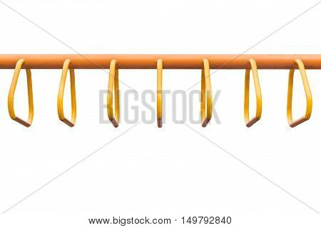 Steel Bar For Trapeze. Outdoor Exercise Equipment At Public Park Isolated On White Background