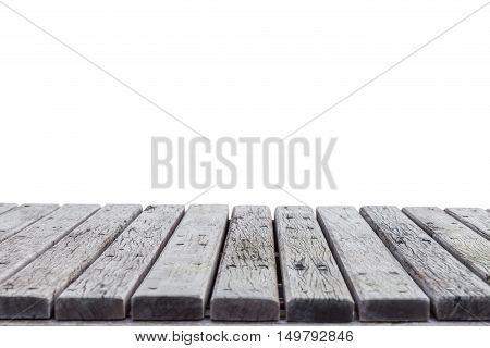Empty Top Of Wooden Decking Isolated On White Background