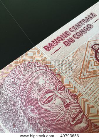 Congolese franc, close up of Congo paper bank note money