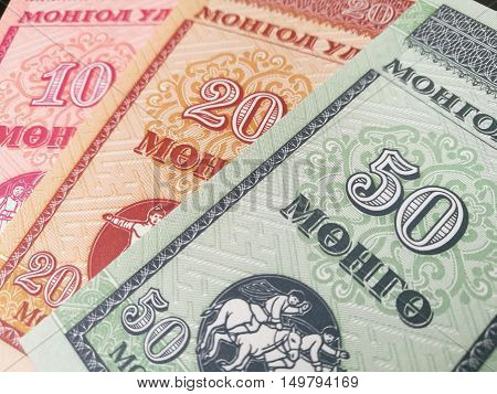 Close up of Mongolia bank note, Mongolian paper currency