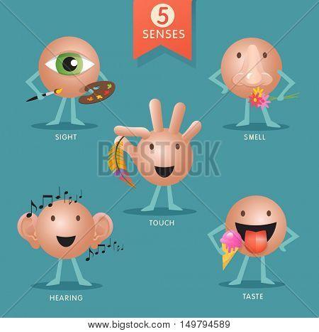 educational cartoon characters representing the five senses