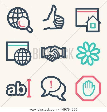 Internet web icons set. Service mobile symbols.