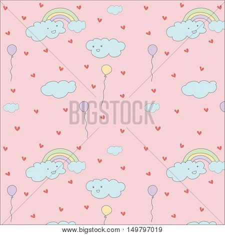 Cloudrainbow and balloon cute hand drawn pastel vector pattern