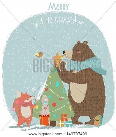 cute bear, hare and fox - Christmas vector card