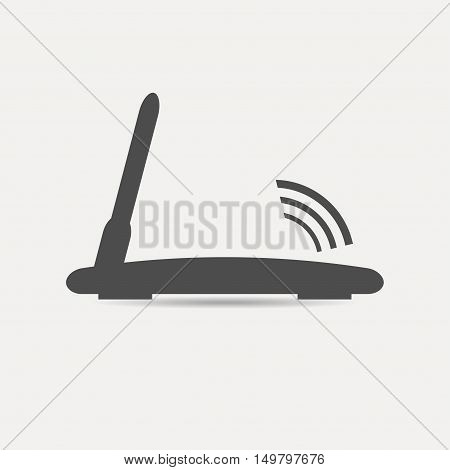 Wifi router icon. Router with antenna. Vector illustration