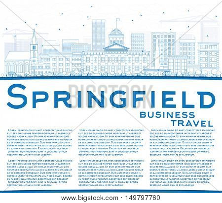 Outline Springfield Skyline with Blue Buildings and Copy Space. Business Travel and Tourism Concept with. Image for Presentation Banner Placard and Web Site.