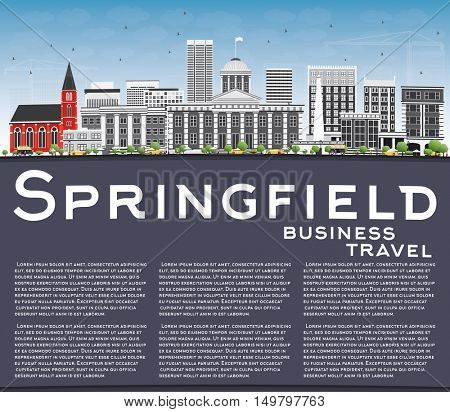 Springfield Skyline with Gray Buildings, Blue Sky and Copy Space. Business Travel and Tourism Concept . Image for Presentation Banner Placard and Web Site.