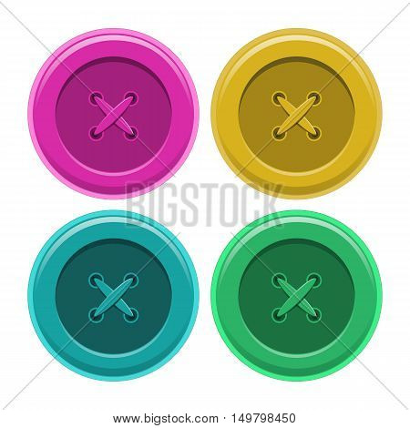 Buttons sewing set, button shirt clothing, vector illustration isolated object