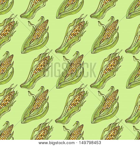 Vector Seamless Corn Pattern.