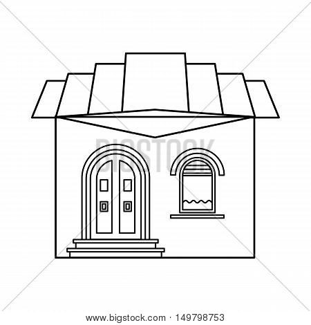 One storey house with roof icon in outline style isolated on white background. Building symbol