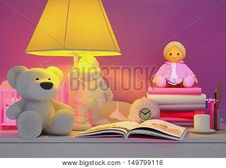 Children's toys book colored pencils alarm clock the lamp milk in a glass are located on a table. 3D illustration