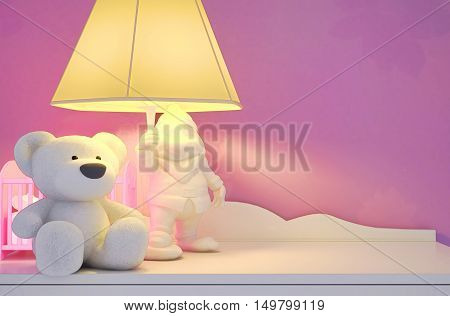 Children's toys the lamp are located on a table. 3D illustration