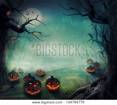 Halloween design - Forest pumpkins. Horror background with autumn valley with woods spooky tree pumpkins and spider web. Space for your Halloween holiday text.