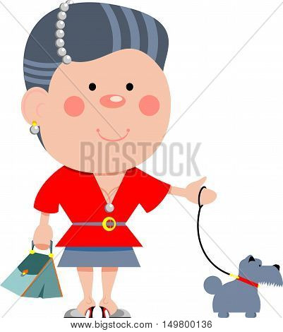 Vector illustration of a woman with a dog