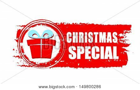 christmas special - text and gift box sign on red drawn banner, business holiday concept, vector