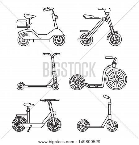 Kick scooter set. Balance bikes. Various scooters eco alternative city transport. Thin line design biking and rolling wheels. Vector push scooter and electric scooter collection. Urban green vehicles.