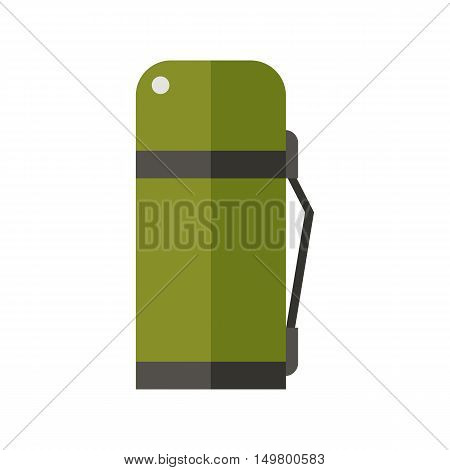 Green thermos vector icon isolated on white background.