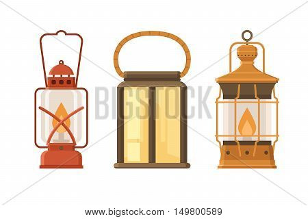 Vintage oil lantern set isolated on white background. Different camping lamp collection. Modern and retro lanterns vector illustration. Various handle gas lamps for tourist hiking.
